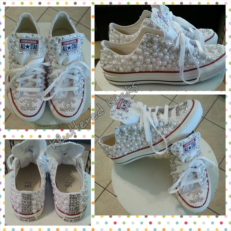 205842289d4108 Custom Pearls and Rhinestone Converse