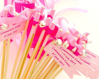 Baguette Ribbon with a message, personalized banner, Pink Ribbon, Ribbon, Fuchsia, Bell, out of ceremony, guard of honor with ribbons, wedding
