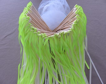 20 baguette lime green and White Ribbon for guard of honor lime green wedding
