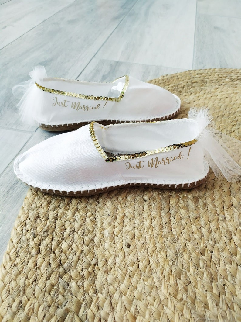 just Married sequin chaussure sandale espadrille Chaussure Or Message Femme mariage Personnalisée espadrille Blanche Mariage Dore Mariage hQCtsdr