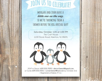 Printable Arctic Penguin Baby Shower Invitation, 5x7, Baby, Personalized Invitation, Digital Download