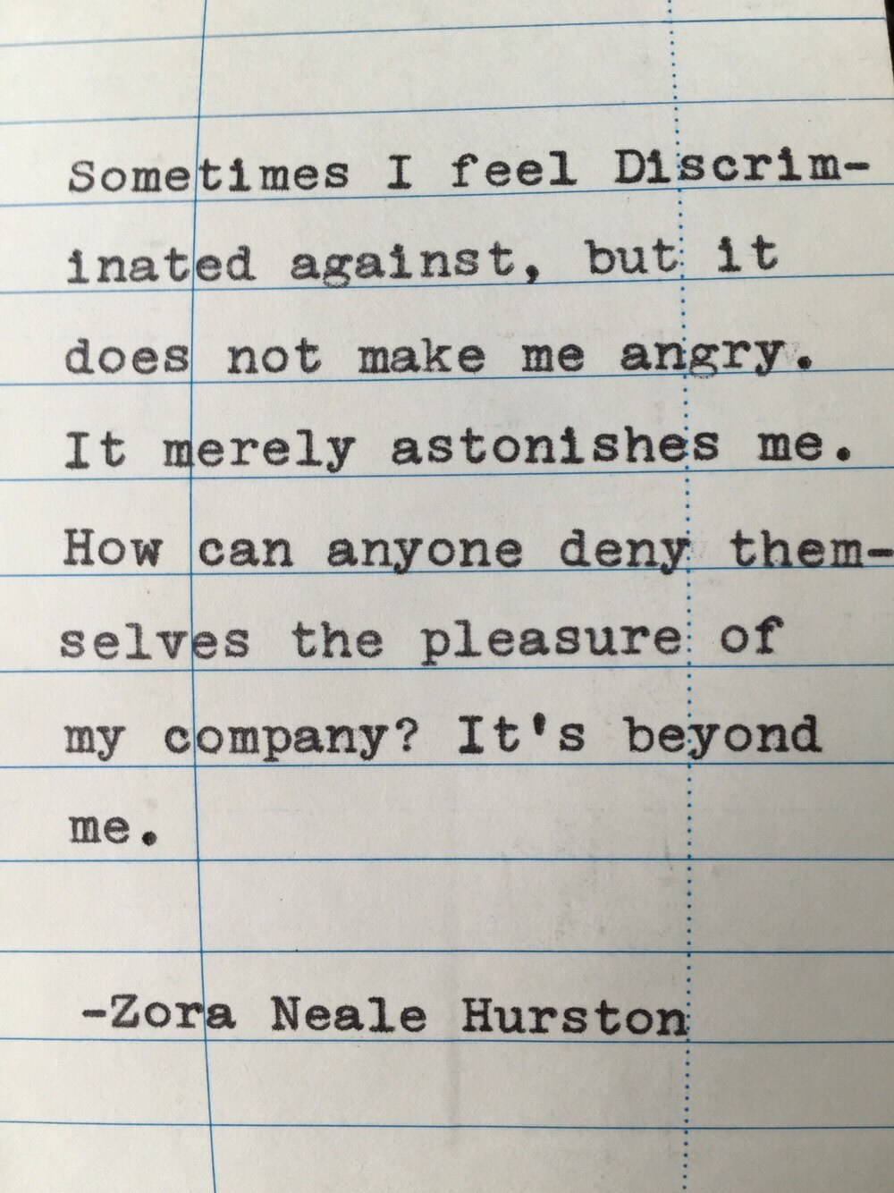 Zora Neale Hurston Quote Hand Typed On Library Due Date Card Etsy