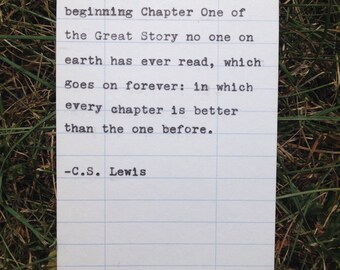 C.S. Lewis quote hand typed on library due date card