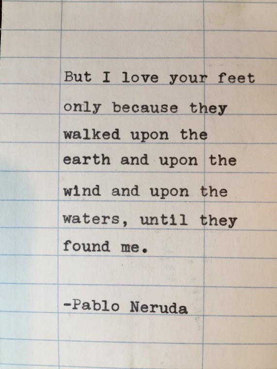 Pablo Neruda Quote Hand Typed On Library Due Date Card But I Love