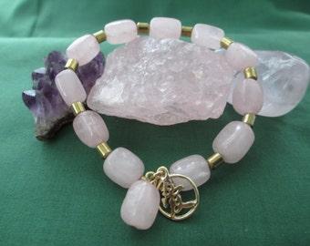 """Rose Quartz Bracelet,Rose Quartz Beaded Reiki Bracelet with Chinese Charm Symbol For """"Love"""""""