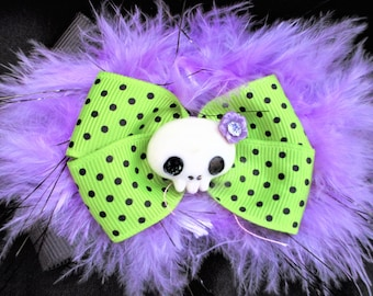 Hair Bow,Black And Purple Skull Hair Bow Barrette,Hair Clippie,Halloween Hair Clippie