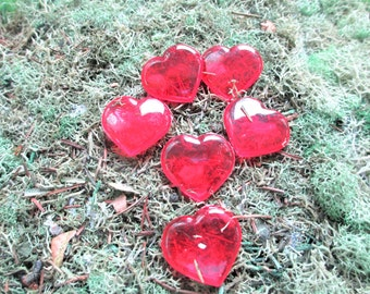 Fairy Garden Red Heart Stepping Stones Set Of 6, Heart Shaped Stepping Stones, Mini Garden Stepping Stones