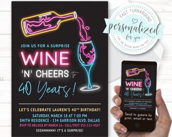 ANY age, 30th Birthday, 40th Surprise/No surprise, Cheers to 40 Years, I design for you with quick turnaround, Digital for print/email/text.