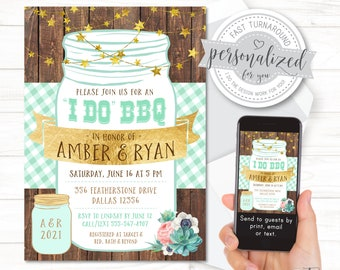 I Do BBQ wedding shower invitation, Mint and gold, Couples BBQ shower, For print, email or text. (I design for you! Quick turnaround).