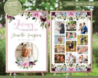 Funeral or memorial welcome sign with 1 (or more) photo collage board(s), Photo funeral display, I design and you print (digital files)