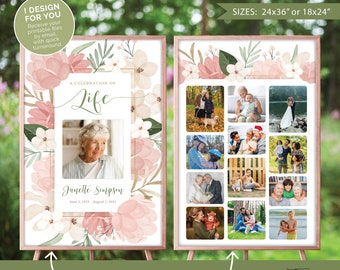 Funeral or celebration of life welcome sign with 1 (or more) photo collage board(s), Photo display, I design and you print (digital files)