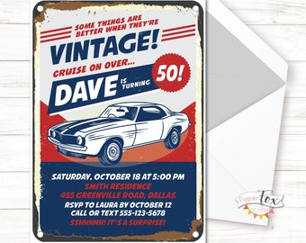 60th Birthday Invitation 50th For Men Classic Car PRINTABLE