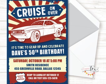 50th Birthday For Men 40th Invitation 60th Vintage Car Classic Muscle