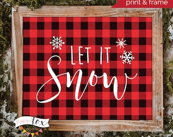 buffalo plaid christmas christmas printables let it snow sign buffalo check christmas holiday decor let it snow printable wall art