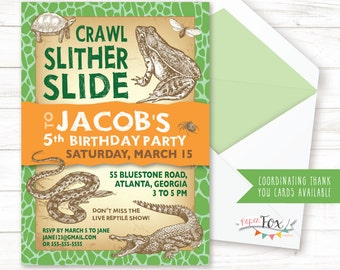 Reptile Birthday Invitation Invite Party Boy PRINTABLE