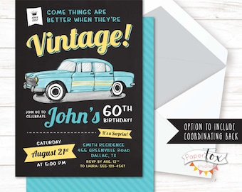 60th Birthday Invitation 65th For Men 70th Classic Car Surprise PRINTABLE