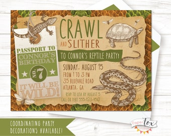 Reptile Birthday Invitation Party Snake Invitations For Boys PRINTABLE