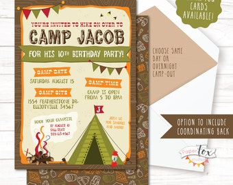 Camping invitation camping birthday invitation sleepover camping birthday invitation camping birthday party invitation camp out party camping party camping invitation overnight or same day filmwisefo