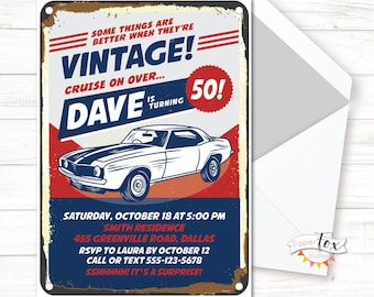 ANY age, 60th birthday invitation, 50th birthday invitation, Birthday invitation for men, Classic Car Invitation, For print/text/email