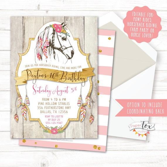 Horse Birthday Invitation Cowgirl Boho Pony Horseback Riding Party