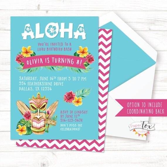 Luau Birthday Invitation Luau Party Tiki Party Hawaiian Etsy