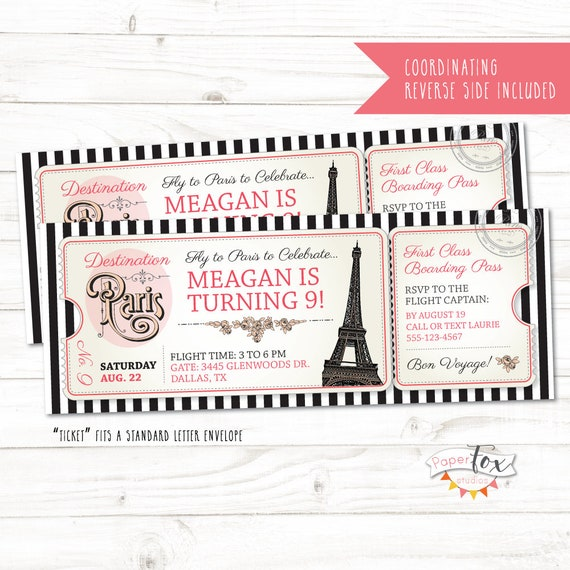 Paris Birthday Invitation Ticket Image 0