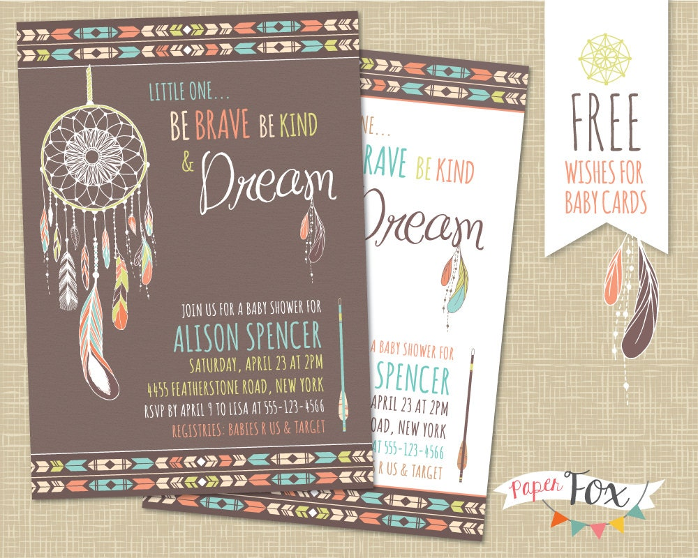 Dreamcatcher baby shower invitation tribal baby shower etsy filmwisefo