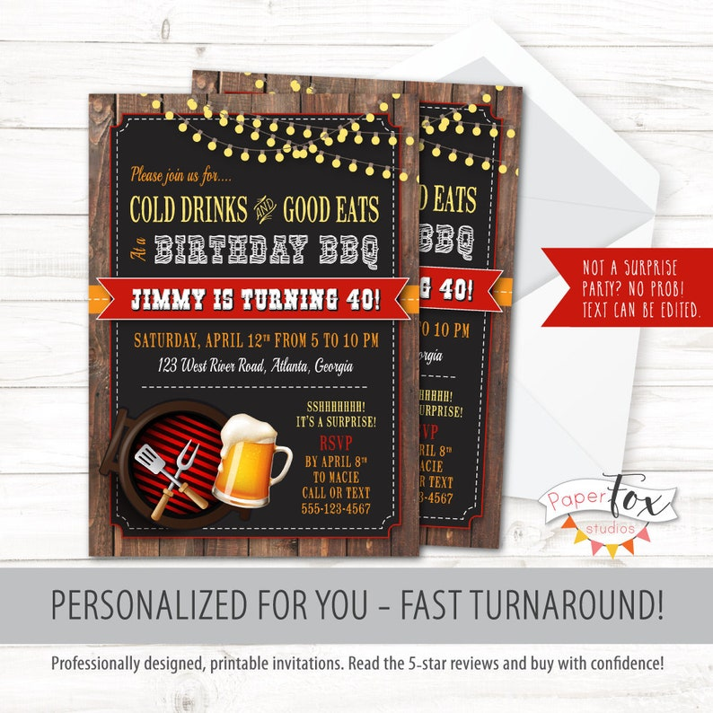 40th Birthday Invitations For Men 50th Invitation 30th BBQ And Beer Beers Cheers Bbq PRINTABLE
