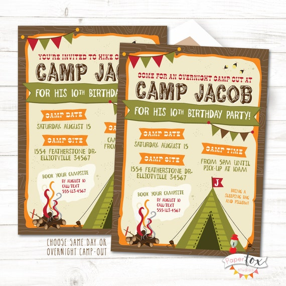 camping birthday invitation camping birthday party etsy