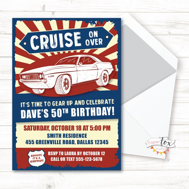 50th Birthday For Men 40th Invitation 60th Vintage Car Classic