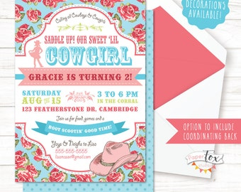 Cowgirl Birthday Invitation / Cowgirl Party Invitation / Cowgirl Invitation / Cowgirl Party Decorations / Pony Birthday / PRINTABLE