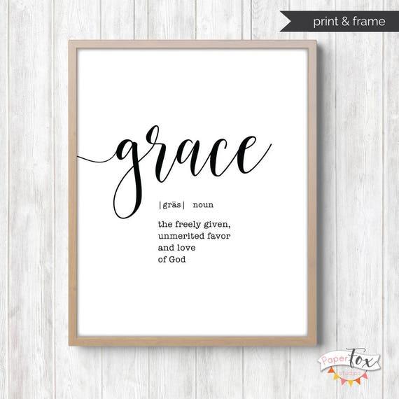 Grace Print Printable Wall Art Scripture Wall Art Farmhouse | Etsy