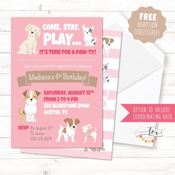 Puppy Birthday Invitation Party Adoption Dog FREE Certificate PRINTABLE