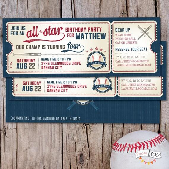 Vintage Baseball Birthday Invitation Ticket