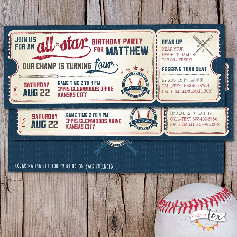 Vintage Baseball Birthday Invitation Ticket