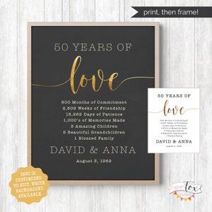 50th Anniversary Gift PRINTABLE JPEG Gold Anniversary Guest Book 50 Years Wedding Anniversary 50th Wedding Golden Anniversary 200 Leaves