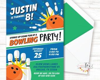 Bowling Party Invitation, Bowling Birthday Invitation, Bowling Invitation, Bowling Birthday Party, Bowling Invite, For Boys, PRINTABLE
