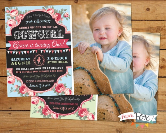 Vintage Cowgirl Birthday Invitation Country Chic