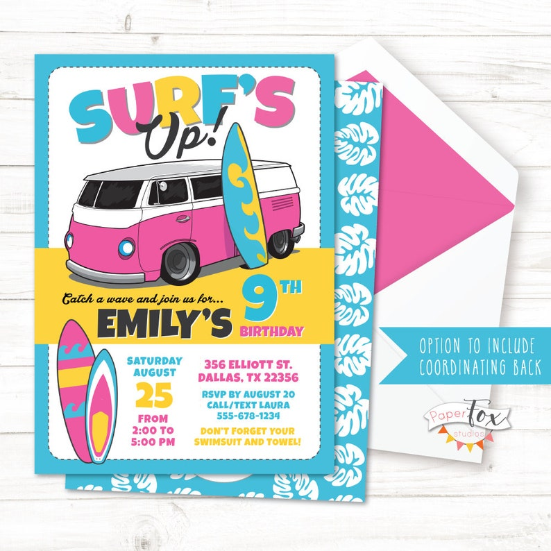 Surf Birthday Invitation Party Pool Surfing Invitations Swim Beach Surfer