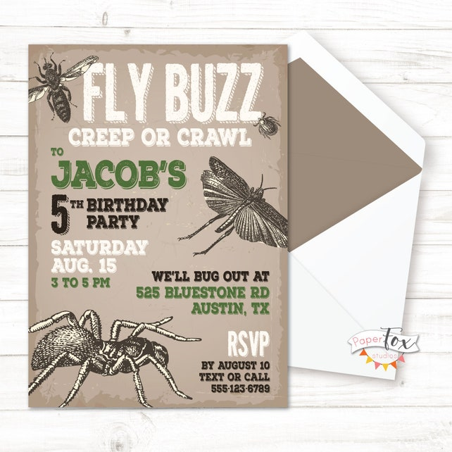 Insect Birthday Invitation Party Invitations For Boys Bug Out PRINTABLE