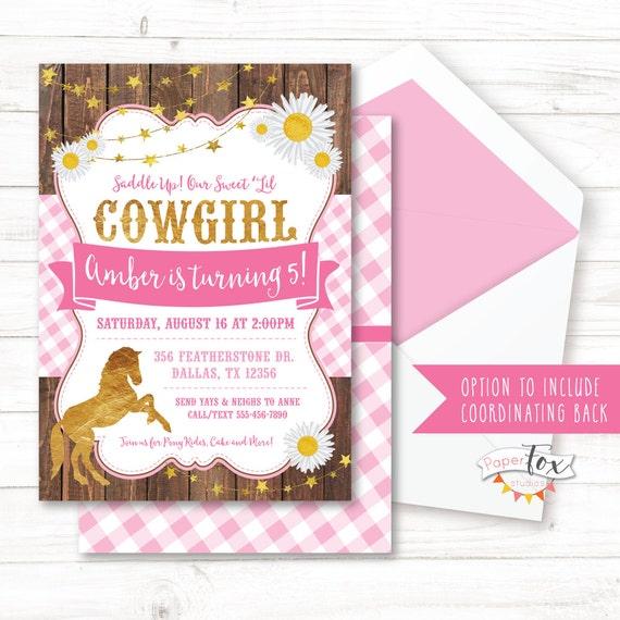 Cowgirl Birthday Invitation Pony Birthday Invitation Pink And Gold Cowgirl Party Invitation Horse Birthday Invitation Printable
