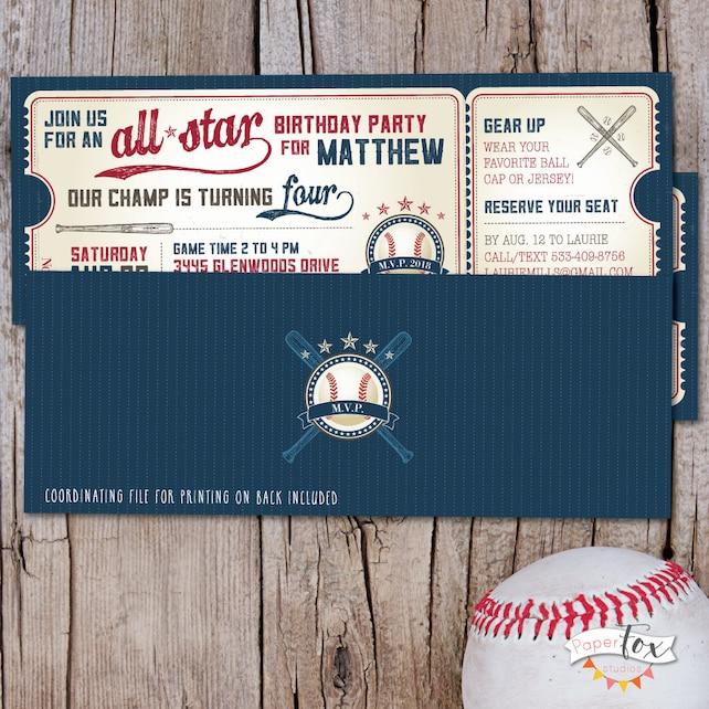 Vintage Baseball Birthday Invitation Ticket First Boy Little Slugger Party PRINTABLE
