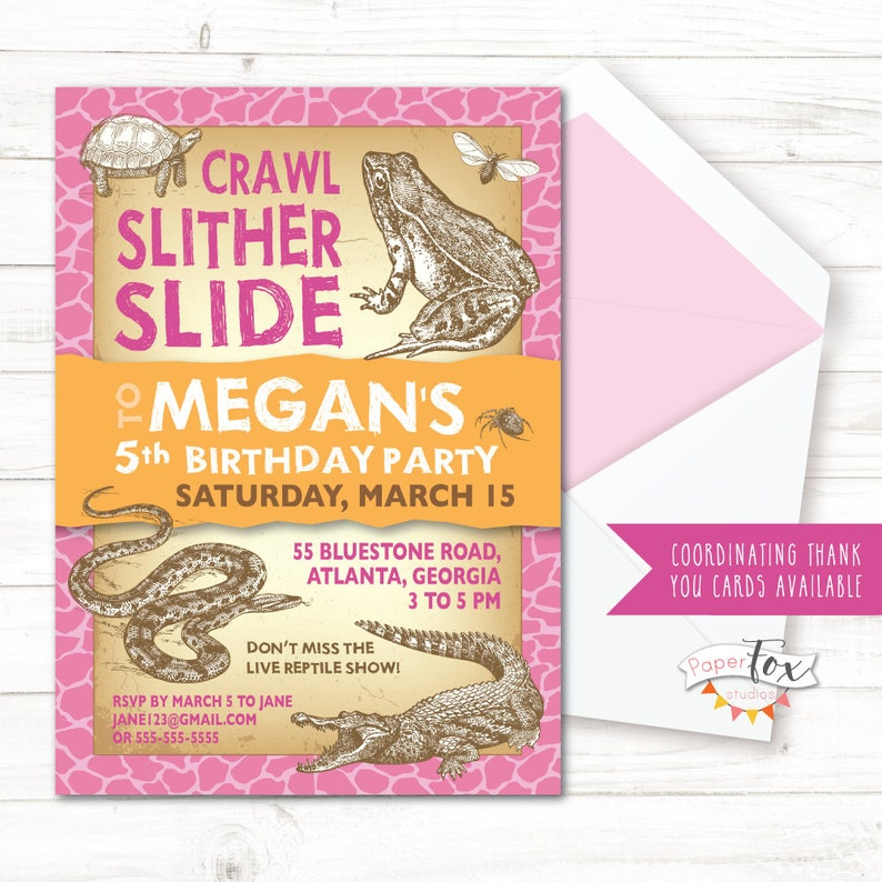 Reptile Birthday Invitation For Girls