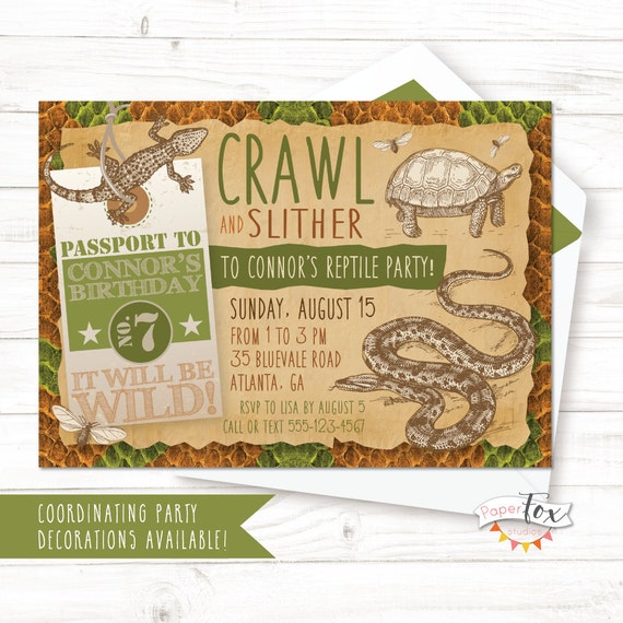 Reptile Birthday Invitation Reptile Party Invitation Reptile Etsy