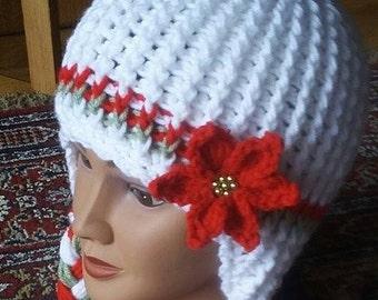 Crochet Christmas Pointsetti Ponytail Earflap Hat Pattern Only
