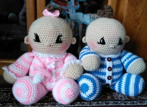 Crochet Twin Amigurumi Baby Doll Pattern Only Etsy Unique Crochet Baby Doll Pattern