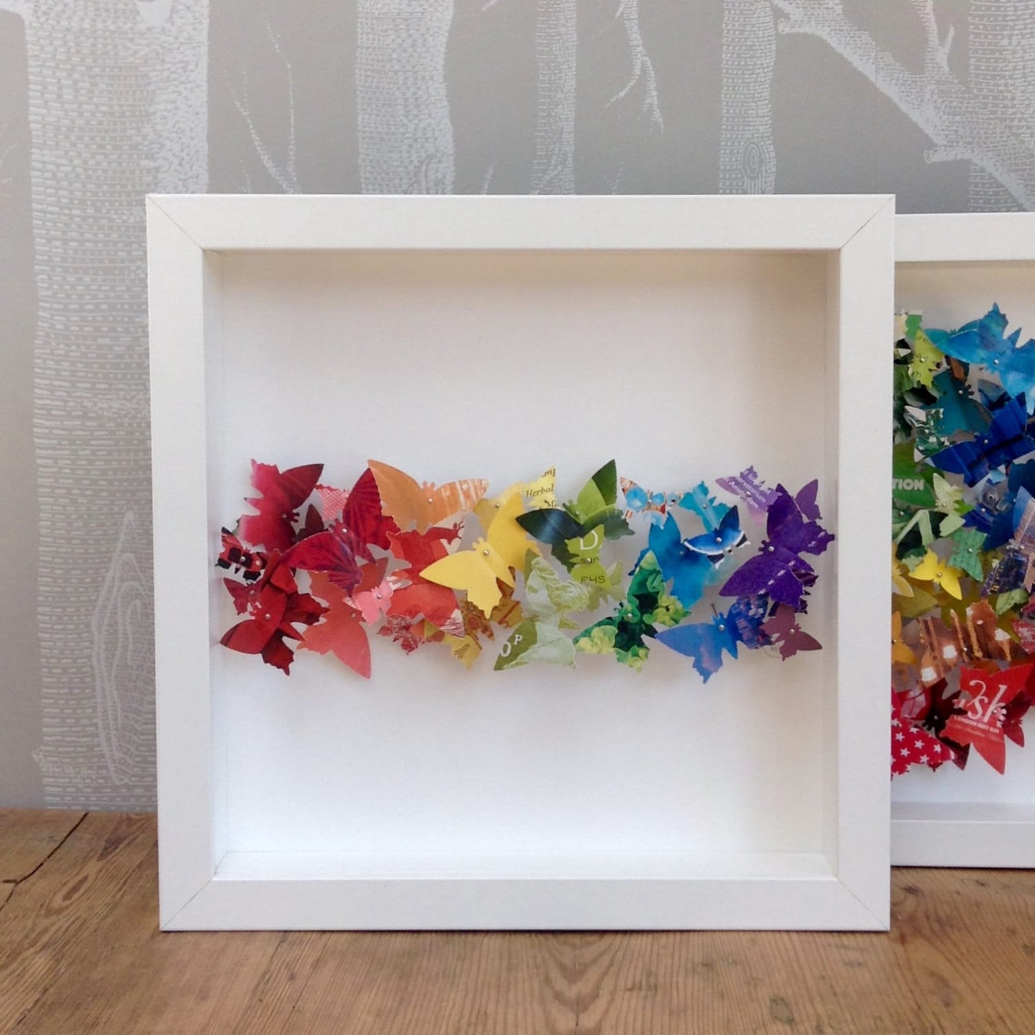 Framed Butterfly Wall Art Rainbow Stripe 3D Small Picture