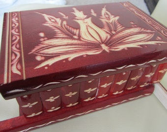 """8""""/20 cm Wooden Jewelry Secret Puzzle Box, with Secret Compartment the Key Hidden Drawer Large RED"""