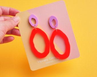 Neon Red Oval Earrings - Neon Statement Drop Earrings - Laser Cut Earrings - Neon Drop Earrings