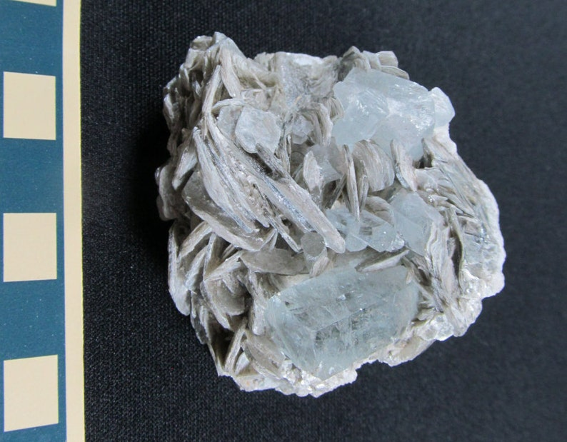 Pakistan Miniature Mineral Specimen March Birthstone Aquamarine on Muscovite